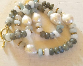 Labradorite Aquamarine and Freshwater Baroque Pearl Necklace
