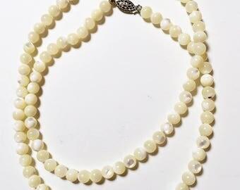 Long Art Nouveau Mother of Pearl (MOP) Bead Necklace Vintage