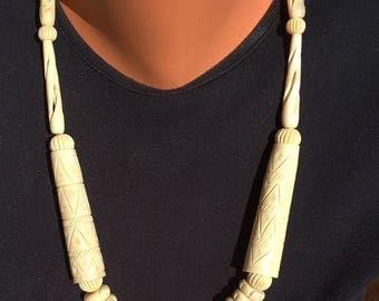 Carved Bone Bead Boho Necklace Vintage