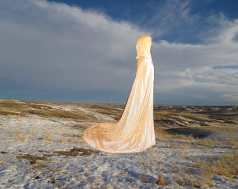 Ivory Wedding Cloak with Train - Medieval Wedding - Renaissance Festival - Costume - Cape - Velvet