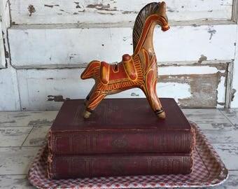 Vintage Talavara Horse Bank Tlaquepaque Mexico Redware Folk Art Pottery