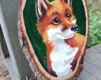 Fox Art/Fox Painting/Red Fox/Animal Art/Animal Painting/Nature Art/Kids Room Decor/Childrens Art/Art For Kids/Tree Slice Art/Wood Painting