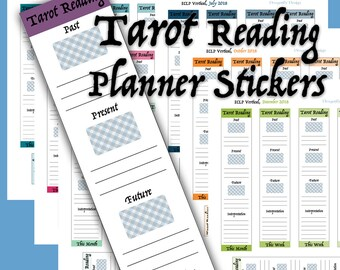 All Year 2018, 12 Months, Weekly Tarot Reading Printable Planner Stickers