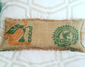 Reclaimed burlap coffee sack Pillow with Rainforest motif