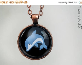 ON SALE - Dolphin : Glass Dome Necklace, Pendant or Keychain Key Ring. Gift Present metal round art photo jewelry by HomeStudio