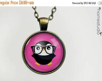 ON SALE - Nerdy Penguin : Glass Dome Necklace, Pendant or Keychain Key Ring. Gift Present metal round art photo jewelry by HomeStudio
