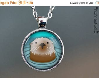 ON SALE - Otter : Glass Dome Necklace, Pendant or Keychain Key Ring. Gift Present metal round art photo jewelry by HomeStudio