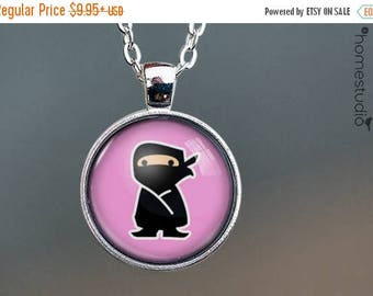 ON SALE - Ninja Girl : Glass Dome Necklace, Pendant or Keychain Key Ring. Gift Present metal round art photo jewelry by HomeStudio