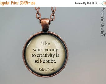 ON SALE - Sylvia Plath (Creativity) Quote jewelry. Necklace, Pendant or Keychain Key Ring. Perfect Gift Present. Glass dome metal charm by H