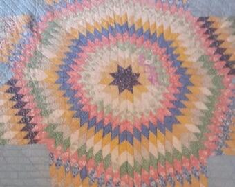 1930s Antique Quilt Feedsack Prints cutter Wonderful Lone Star Quilt