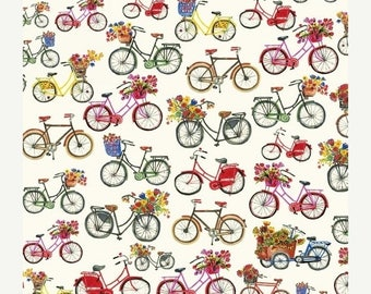 ON SALE Flower Pedals Bicycles by Carolyn Gavin for Windham Fabrics