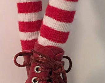 Red and White Striped Tall Socks...For Blythe...