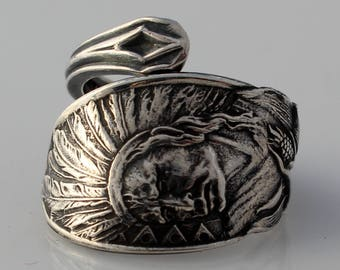 Spoon Ring Native American Sterling Silver Demitasse Ring Size 3-9