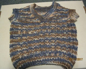 Hand Knit Sleeveless V-Neck Vest in Knitting Worsted Size 12-18 month