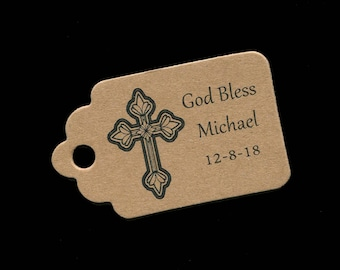Baptism Favor Tags, Communion Tags, Personalized, Thank You Tags, First Communion Tags,  Tags for Baptism Favors, Kraft Tags