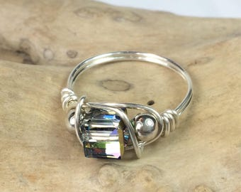 "Sterling Silver Wire-Wrapped Ring with ""Vitrail"" Swarovski Crystal"