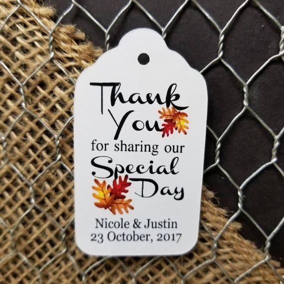 Thank you for Sharing our Special Day Autumn Leaves Fall Wedding MEDIUM Personalized Wedding Favor Tag  choose your amount