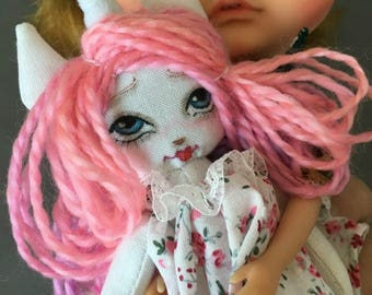 Unicorn Rainbow miniature Rag Doll for Your or Your Dolls, Forest animal art doll for Blythe and BJD, tiny cloth doll pink jointed