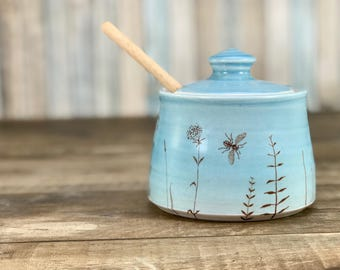 Ceramic honey pot, blue glazed honey pot,  porcelain honey jar. Handmade honey jar. Bees, flowers + wooden honey dipper. Blue kitchen decor.