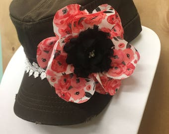Women's Cadet with Hand made Flowers, Lace, and bling. Free Shipping!