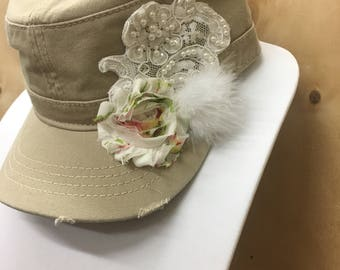 New Ladies Cadet Hat- Handmade Flower, Boa, Bridal Applique-Free Shipping
