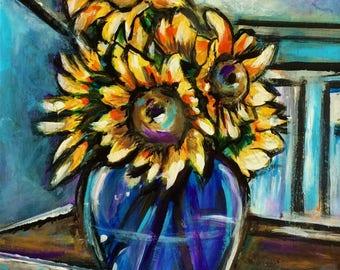 Sunflower Art - Art Print - Sunflowers - Wall Art - Floral Art - Leah Reynolds