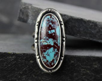 Turquoise Ring, Blue Turquoise with Red Matrix, Silver Statement Ring, Oval Ring, Boho Ring, Bamboo Texture, Ready to Ship, Size 7