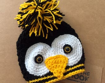 Baby// Adult // Crochet // Pittsburgh Team Color // Penguin Beanie Hat // All Sizes Available // Newborn to Adult Female // Black and Gold