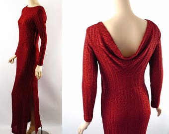 Vintage Formal Gown Metallic Red Body Hugging by Jenni and Lizzi Sz 10 B34 W28