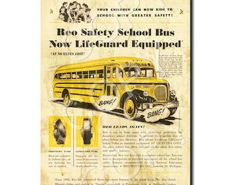 INSTANT DOWNLOAD Single Image - Vintage School Bus Ad - Printable