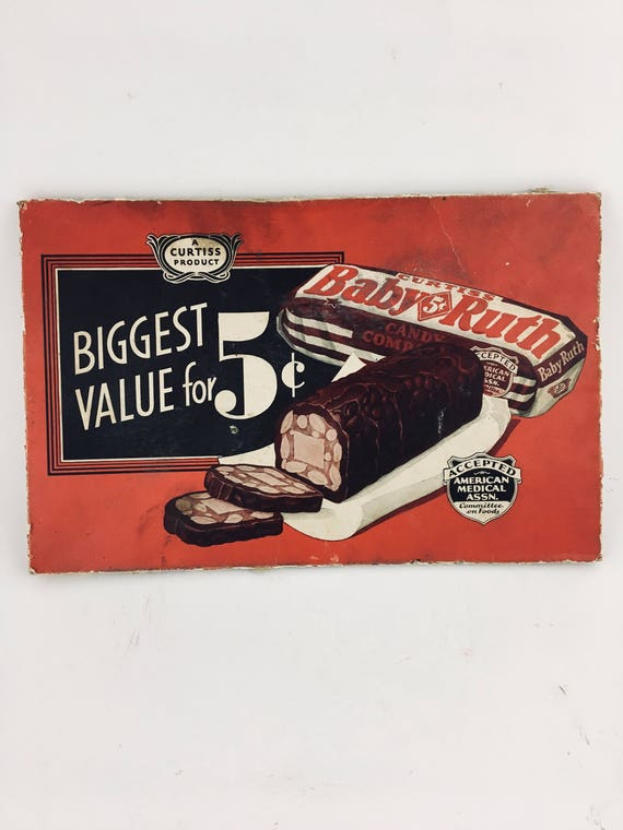 Vintage Baby Ruth Candy Bar Advertising Box Top