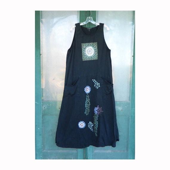 Artwear Sleeveless Dress -L/XL- Black Cotton Jersey