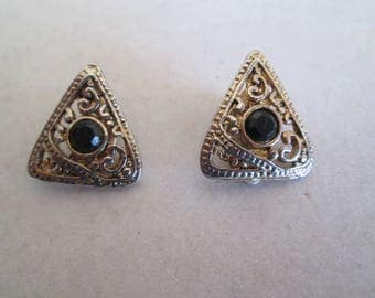 Silver and gold vintage filigree clip on earrings triangle shape