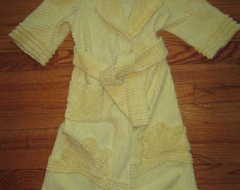 1950's vintage pale yellow terry cloth robe for girl or boy size 2