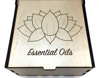 Lotus Essential Oil Box, 25 Slot, Essential Oil Storage, Essential Oil Case, Lotus Flower Box, Aromatherapy Storage, Oil Display