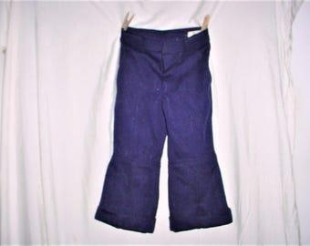 Vintage 70s Blue Poly Kids Wide Leg Hippie Bell Bottom Pants