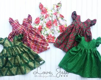 Little Girls Christmas Dresses, Toddler Girls Christmas Dresses, Red Christmas Dress, Green Christmas Dress, Baby Girls Christmas Dresses