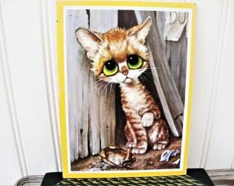 vintage gig pitty kitty sad alley cat big eyed kitten george goodenow