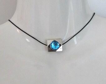 Blue Sapphire Choker Necklace, Black Satin Cord,  Pendant, 14 inch plus 3 inch extender, Adjustable, Blue Glass setting, Necklace,  Choker