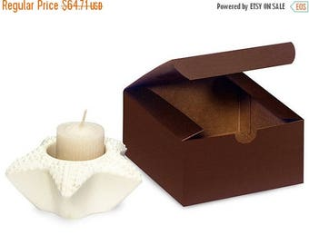 Summer Sale 100 Pack Matte Chocolate Brown Paper Tuck Top Style Packaging Retail Gift Boxes 4X4X2 Inch Size