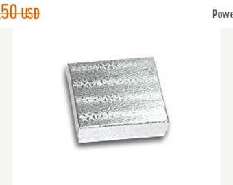 STOREWIDE SALE 50 Pack Silver Foil 3.5 X 3.5 X 1 Inch  Size Cotton Filled Jewelry Presentation Gift Boxes