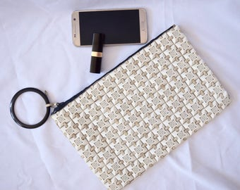 Plasticflex | Vintage 1940s Wristlet Ivory Tiled Clutch Purse RARE 40s Design Filigree Squares Leather Lacing Trademarked US Patent