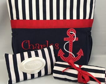 ANCHOR ...  Navy  Stripe ... Personalized Diaper Bag Set  .. Bottle Pockets .. Wipe ... Changing pad ... FREE Monogramming