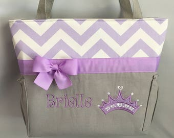 PRINCESS Crown ... Lavender Chevron  ... Diaper Bag  ... Bottle Pockets