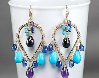 Summer SALE Turquoise, Kyanite, Amethyst, Black Spinel, Iolite, Lapis Lazuli earrings, CZ Vermeil hooks ... CHANDRAKIN Earrings