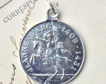 Sterling Joan of Arc on Horseback Medal - Patron of strong women - Antique Reproduction