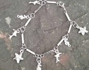 Charm Bracelet, Silver Charm Bracelet, Ocean Charm Bracelet, Sea Horse, Star Fish, Dolphin Bracelet, Sea Creature Bracelet