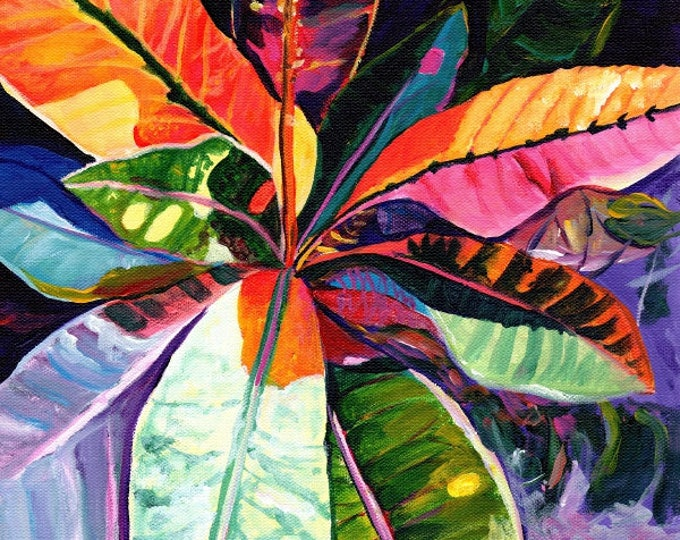 Kauai Croton Leaves 8x10 print  from Kauai Hawaii tropical purple orange blue pink oahu maui
