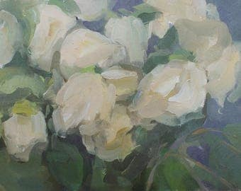floral still life oil painting / flowers painting / rose oil painting / floral wall art / contemporary painting by Michelle Farro