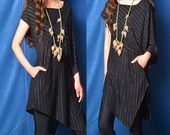 Nile Garden - asymmetrical zen cotton tunic / deconstructed boho summer tunic dress / striped extravagant dress / grey t shirt  (Y19b6)